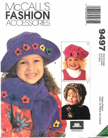 McCall's Sewing Pattern 9497 M9497 Girls Boys Fashion Accessories Hats Scarves