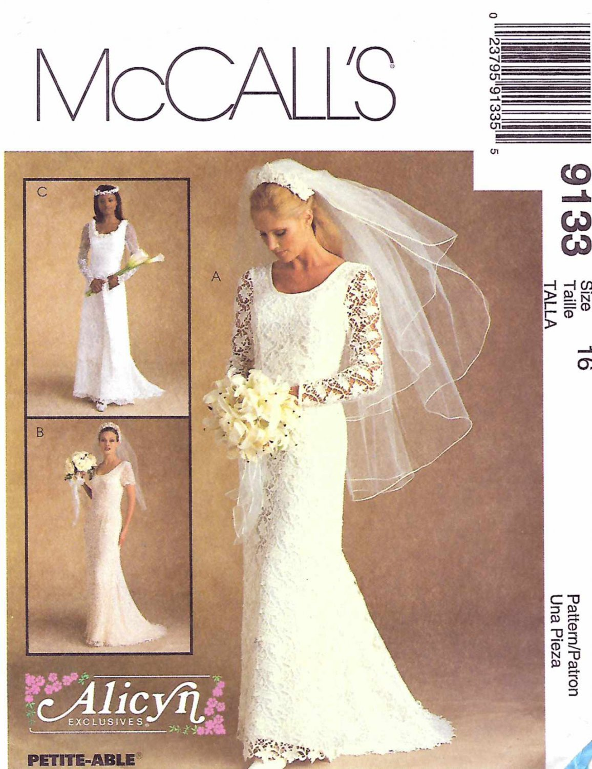 McCall's Sewing Pattern 9133 M9133 Misses Sizes 16 Alicyn Bridal Wedding Gown Dress