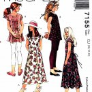 McCall's Sewing Pattern 7155 M7155 Girls Size 10-14 Dress Tunic Knits Leggings