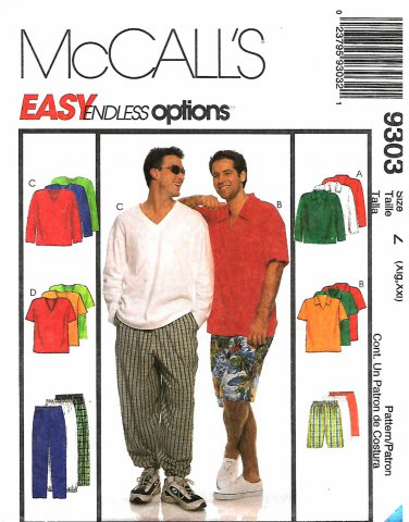 McCall's Sewing Pattern 9303 M9303 Mens Chest 46-52 Easy Wardrobe Tops Pants Shorts