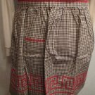 Handmade Brown & White Gingham Half Apron Red Cross Stitch Embroidery Greek Key Design