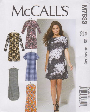 McCall's Sewing Pattern 7533 M7533 Misses Sizes 8-16 Straight Dresses Sleeve Hem Options