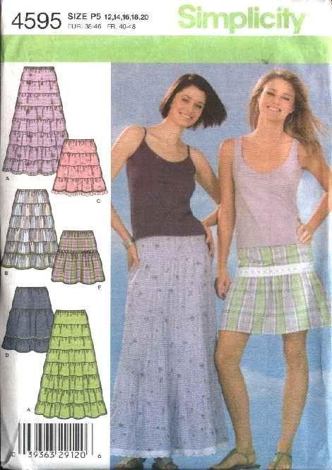 Simplicity Sewing Pattern 4595 Misses Size 12-20 Tiered Yoke Skirts Length Options