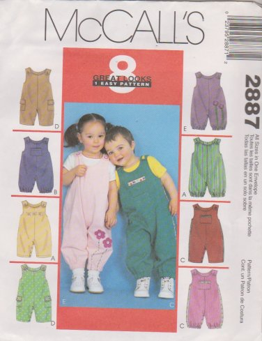 """McCall's Sewing Pattern 2887 Baby Infant Size 13-24# 25-32"""" Jumpsuit Snap Crotch Pockets"""