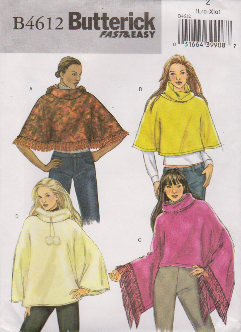 Butterick Sewing Pattern 4612 Misses Size 16-18-20-22 Easy Collar Hooded Ponchos