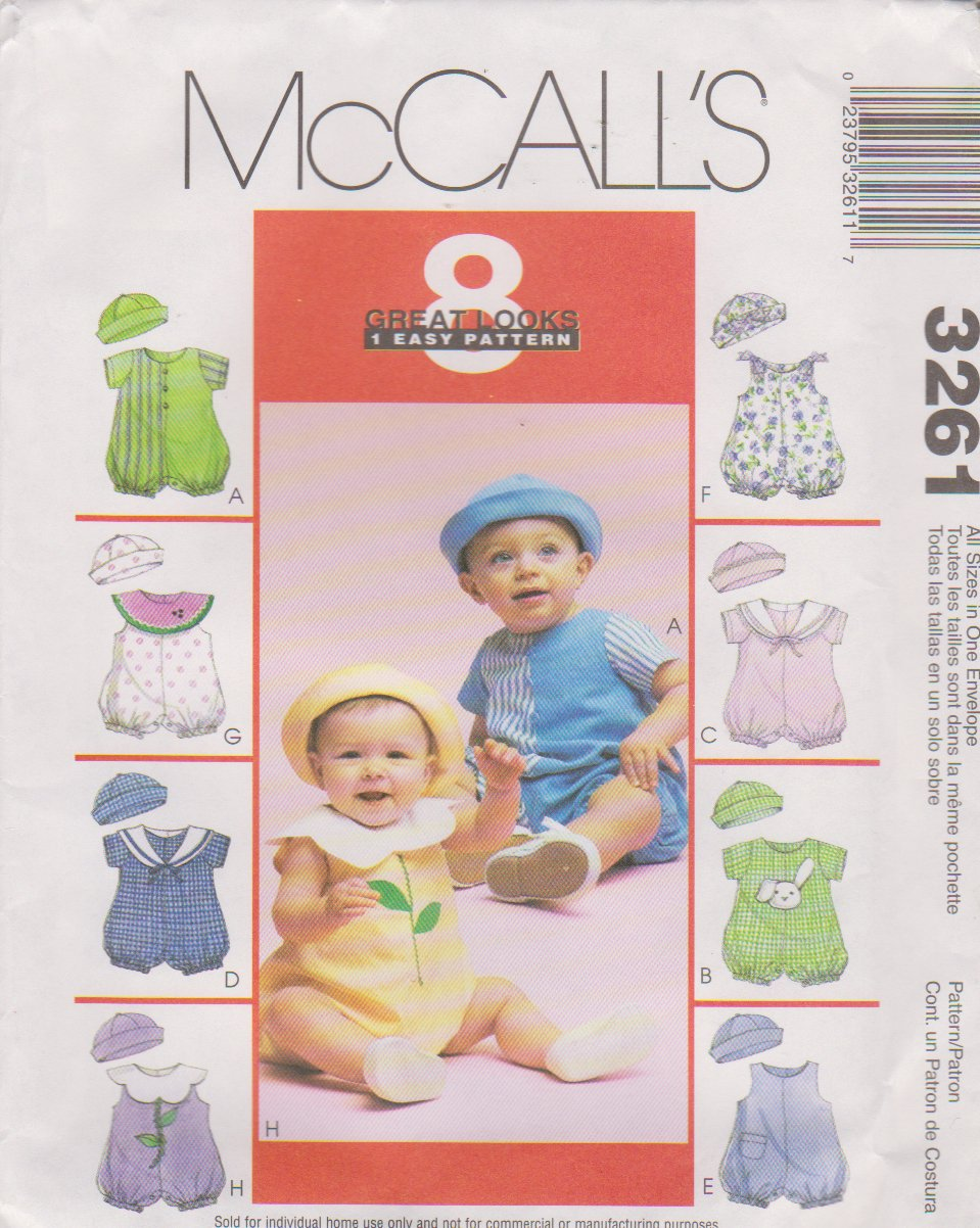 "McCall's Sewing Pattern 3261 M3261 Baby Infant Size 13-24# 25-32"" Easy Rompers Hats"