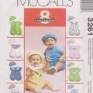 """McCall's Sewing Pattern 3261 M3261 Baby Infant Size 13-24# 25-32"""" Easy Rompers Hats"""