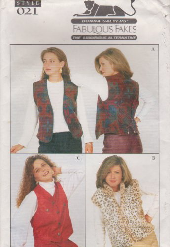 Style Sewing Pattern 021 Misses Sizes 6-24 Donna Salyers Vests Front Back Options