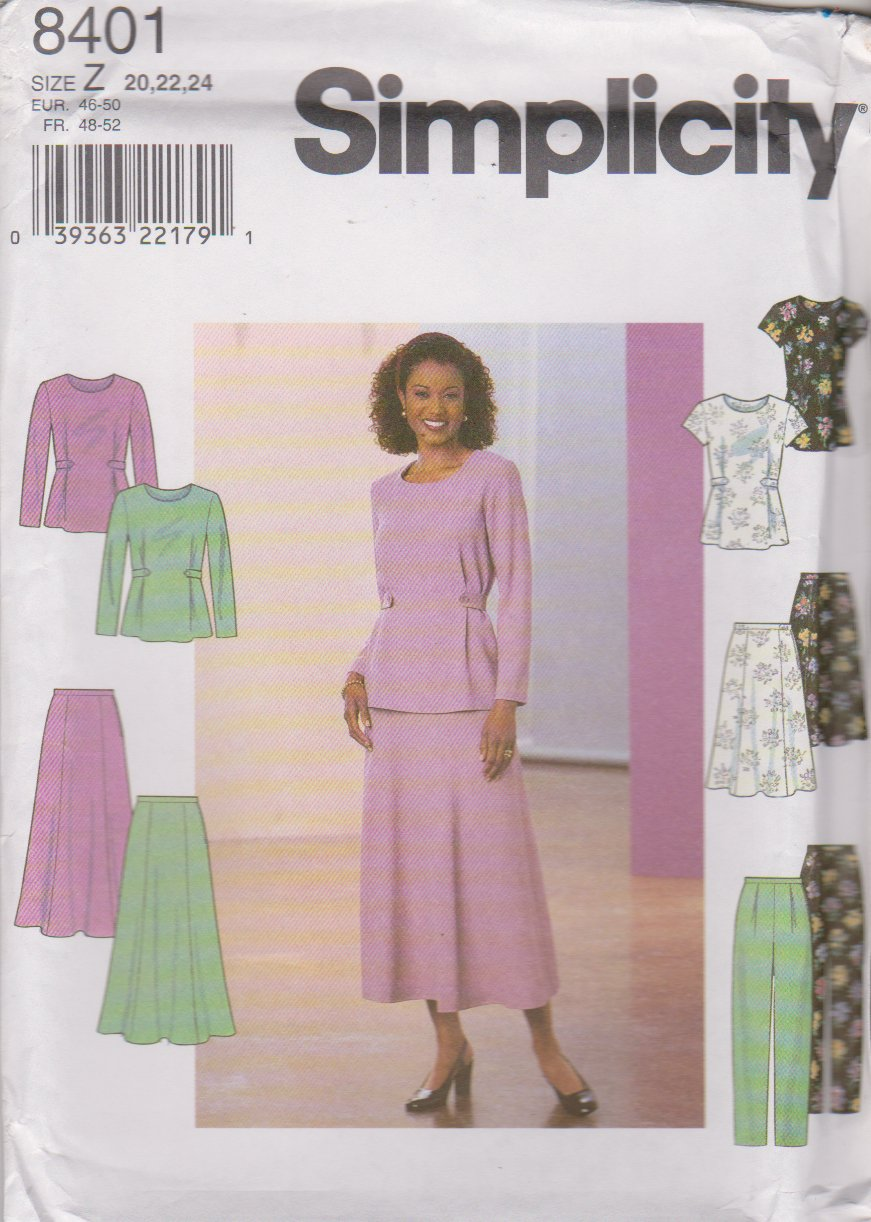 Simplicity Sewing Pattern 8401 Misses Size 20-22-24 Pullover top Flared Skirt Long Pants