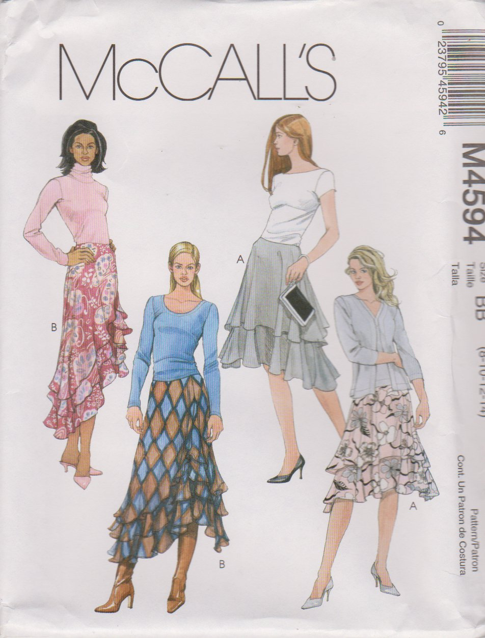 McCall's Sewing Pattern 4594 M4594 Misses Size 8-14 Short Long Tiered Layered Flared Skirts