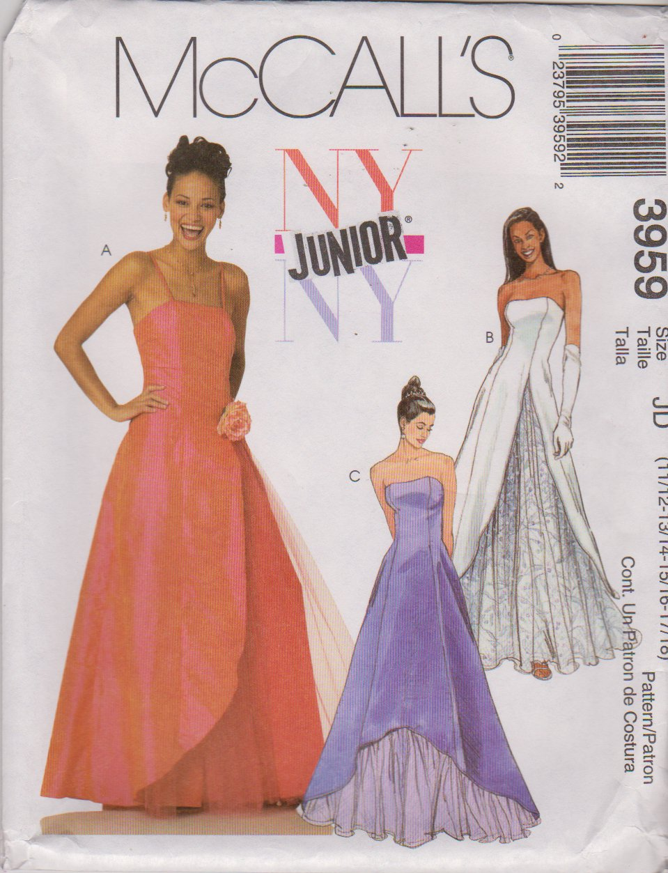 McCall's Sewing Pattern 3959 Junior Size 11/12-17/18 Formal Evening Prom Quinceanera Dress