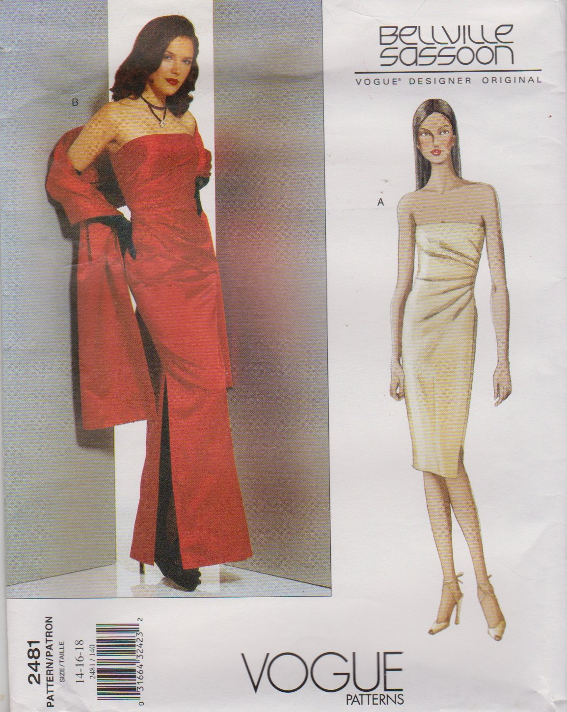 Vogue Sewing Pattern 2481 V2481 Misses Size 14-18 Bellville Sassoon Evening Gown Formal Dress