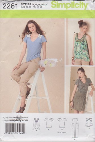 Simplicity Sewing Pattern 2261 Misses Size 14-22 Wardrobe Pants Skirt Knit Pullover Tops