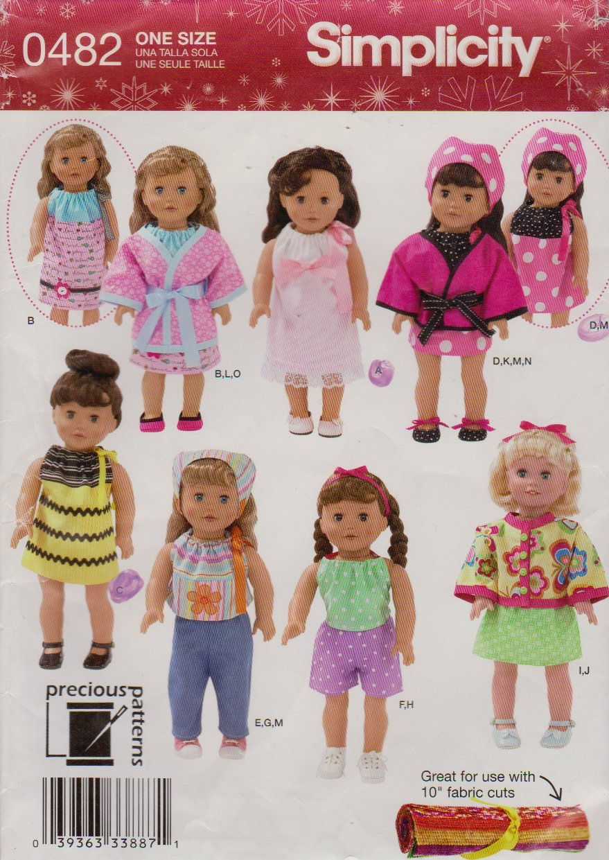 "Simplicity Sewing Pattern 0482 2302 18"" Doll Clothes Dress Top Shorts Pants Jacket Robe Scarf Shoes"