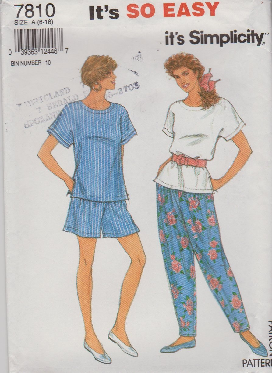 Simplicity Sewing Pattern 7810 Misses Sizes 6-18 Easy Pullover Top Shorts Pants