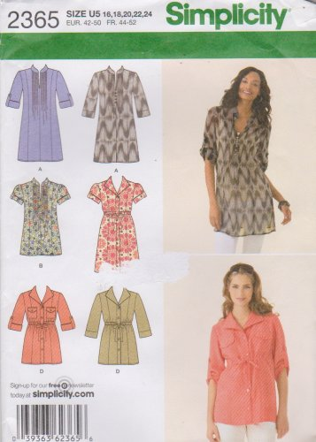 Simplicity Sewing Pattern 2365 Misses Sizes 16-24 Misses Tunics Button Front Pullover