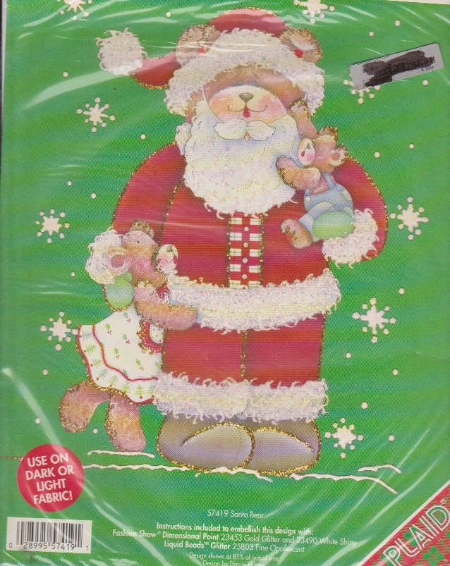 Plaid Christmas Iron On Transfer 57419 Santa Bear Darcie