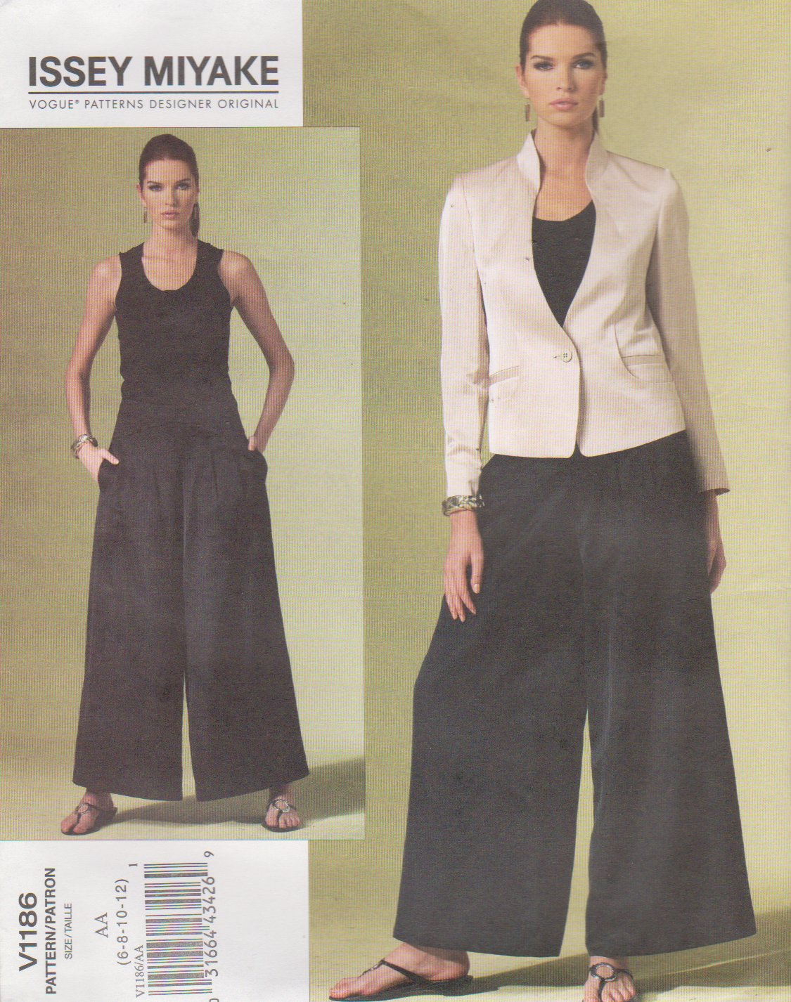 Vogue Sewing Pattern 1186 V1186 Misses Size 6-12 Issey Miyake Lined Jacket Flared Pants