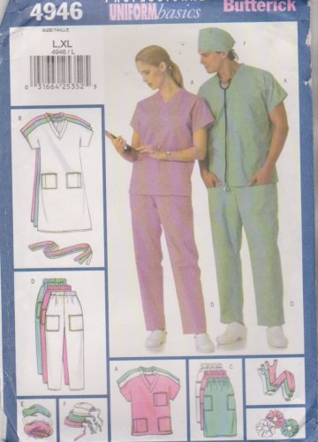 Butterick Sewing Pattern 4946 B4946 Mens Misses Unisex Chest 42'-48' Scrub Uniforms Top Pants Skirt