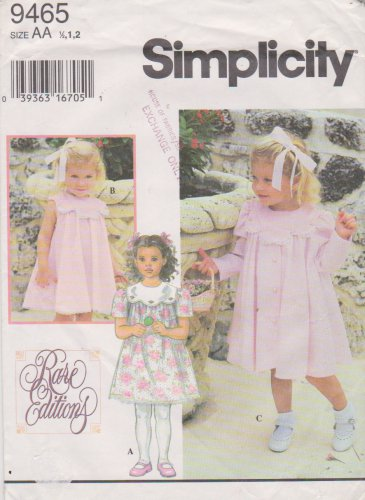 Simplicity Sewing Pattern 9465 Toddler Girls Size ½-1-2 Party Fancy Collar Dress Coat