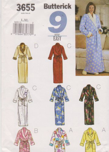 Butterick Sewing Pattern 3655 B3655 Misses Size L-XL Easy Front Wrap Long Short Robe Bathrobe