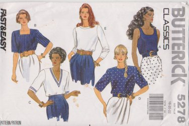 Butterick Sewing Pattern 5278 B5278 Misses Size 18-22 Easy Classic Pullover Tops Sleeve Neck Options