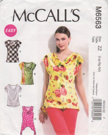 McCalls Sewing Pattern 6563 M6563 Misses Size 16-26 Easy Pullover ...