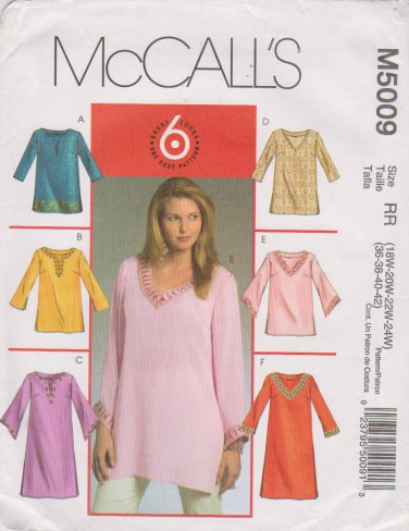 McCall�s Sewing Pattern 5009 M5009 Womans Plus Size 18W-24W Easy Pullover Tunics Tops Kurtas