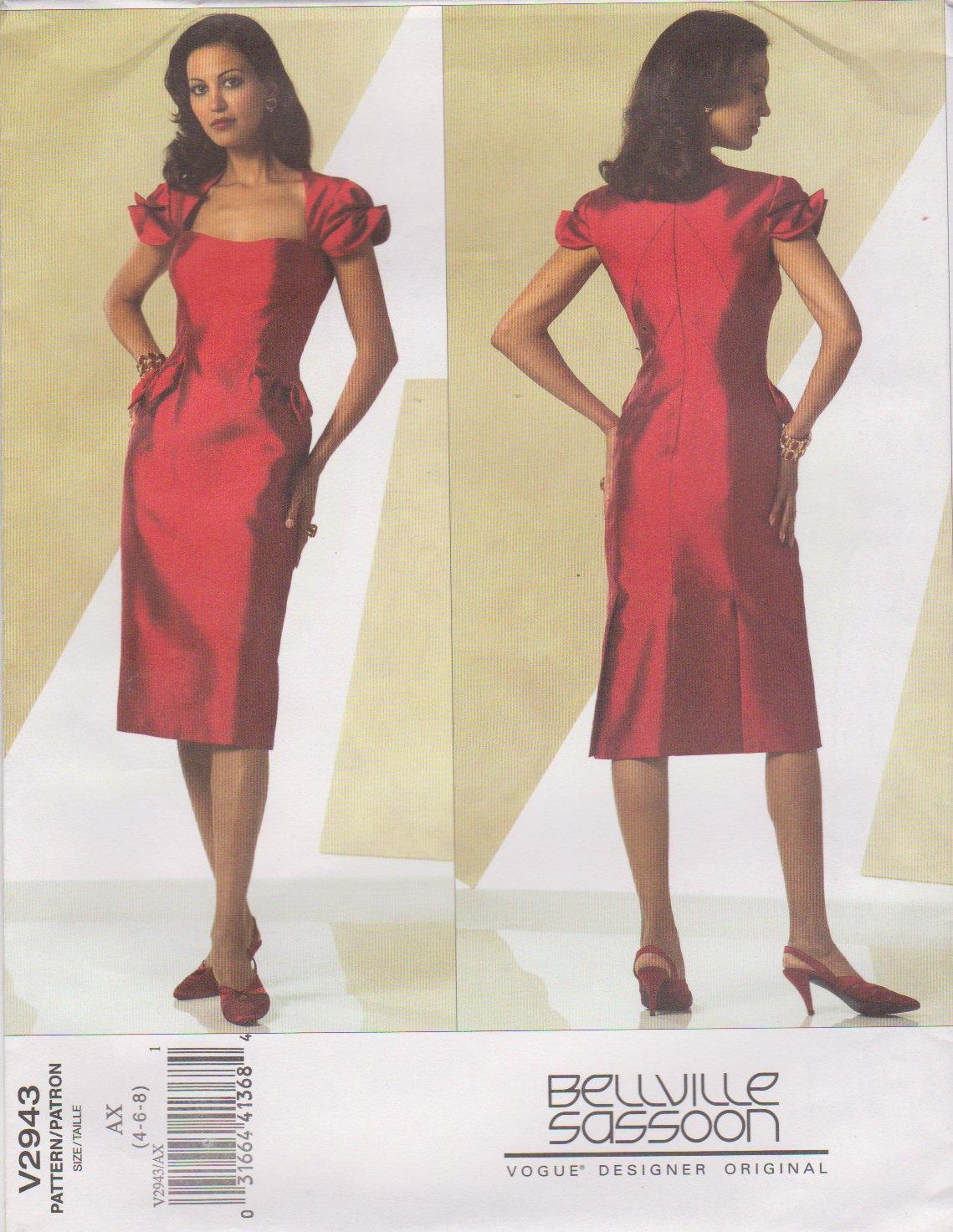 Vogue Sewing Pattern 2943 V2943 Misses Size 4-8 Bellville Sassoon Short Formal Party Dress