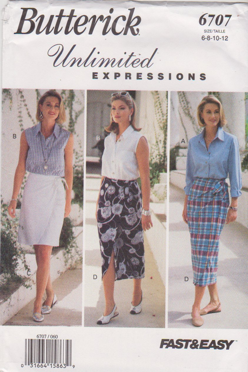 Butterick Sewing Pattern 6707 B6707 Misses Sizes 6-12 Easy Wrap Skirt Button Front Shirt