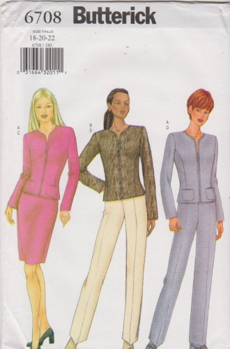 Butterick Sewing Pattern 6708 B6708 Misses Sizes 18-22 Easy Skirt Pants Zipper Front Jacket