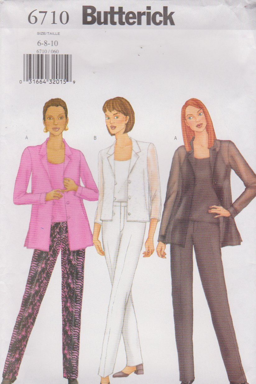 Butterick Sewing Pattern 6710 B6710 Misses Size 6-10 Easy Shirt Camisole Pants