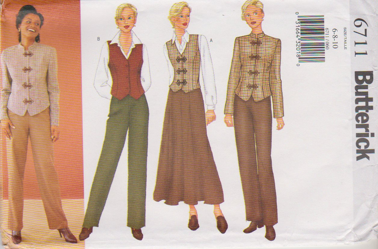 Butterick Sewing Pattern 6711 B6711 Misses Size 6-10 Easy Jacket Vest Skirt Pants