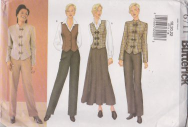 Butterick Sewing Pattern 6711 B6711 Misses Size 18-22 Easy Jacket Vest Skirt Pants