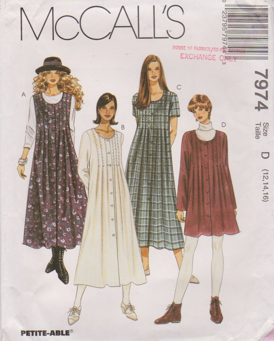 McCall's Sewing Pattern 7974 M7974 Misses Sizes 12-16 Loose-Fitting Dress Sleeve Options