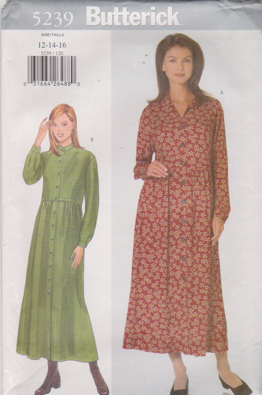 Butterick Sewing Pattern 5239 B5239 Misses Size 12-16 Easy Empire Waist Loose Fitting Dress