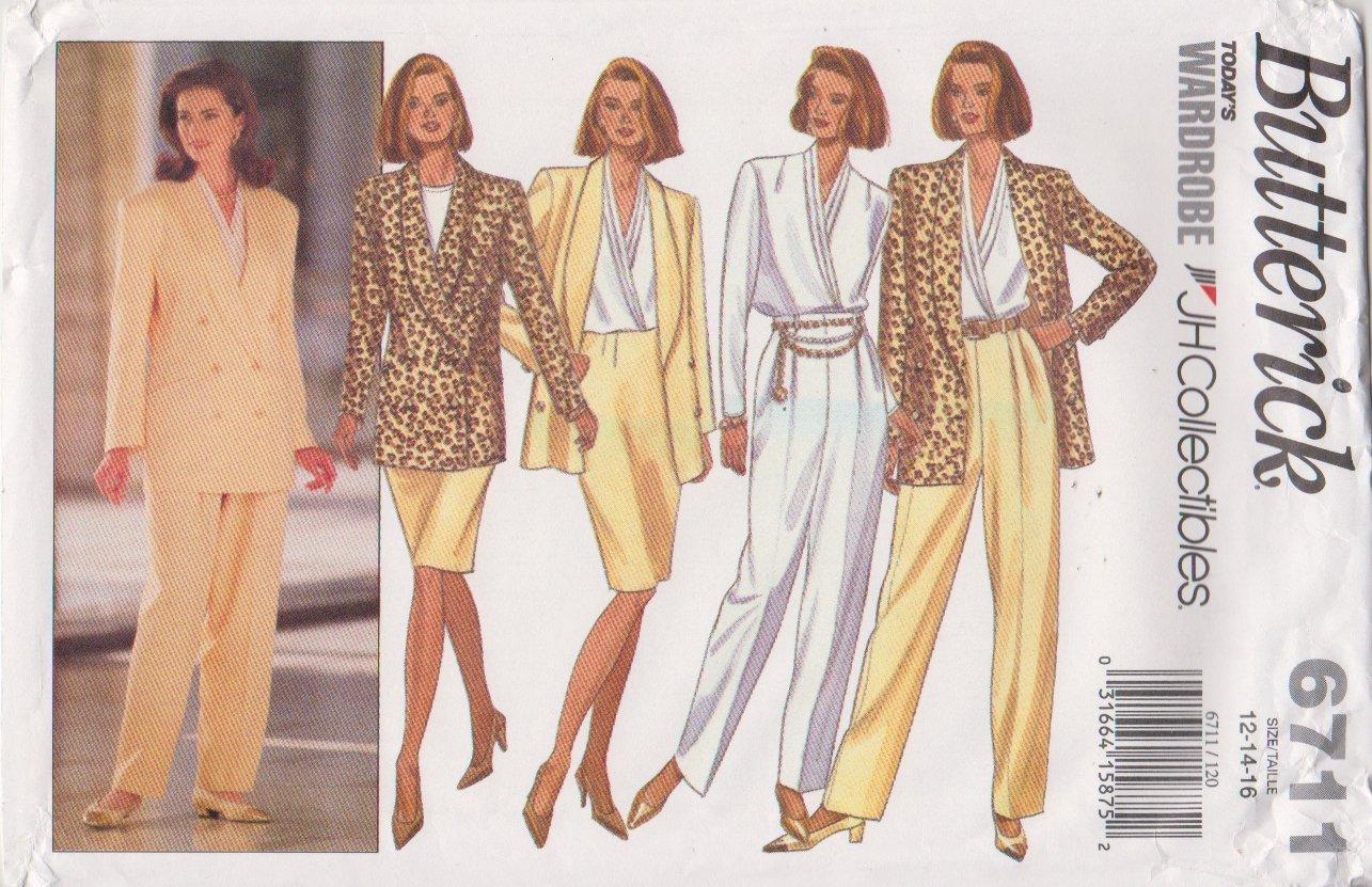 Butterick Sewing Pattern 6711 B6711 Misses Size 12-16 Jacket Blouse Skirt Pants