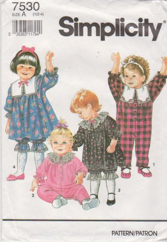 Simplicity Sewing Pattern 7530 Toddler Girl's Size 1/2 - 4 Dress Jumpsuit Pantaloons Romper