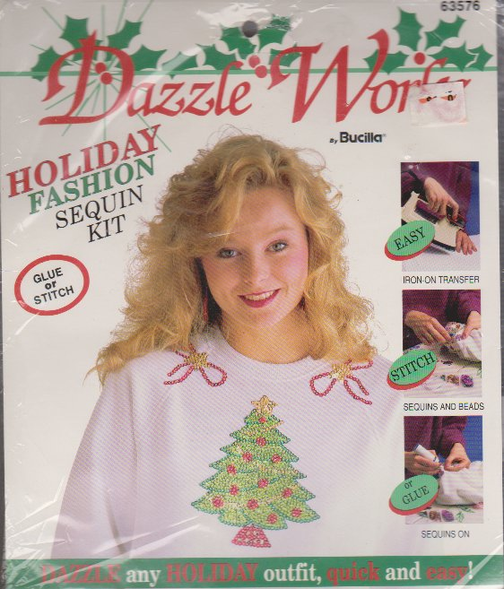 Dazzle Works Bucilla 63576 Easy Holiday Fashion Sequin Kit NEW