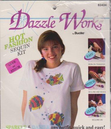 Dazzle Works Bucilla 63434 Easy Tropical Fish Sequin Kit NEW