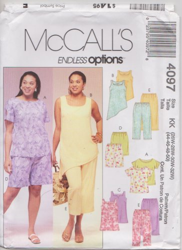 McCall's Sewing Pattern 4097 M4097 Womans Plus Size 26W-32W Easy Summer Tops Pants Shorts