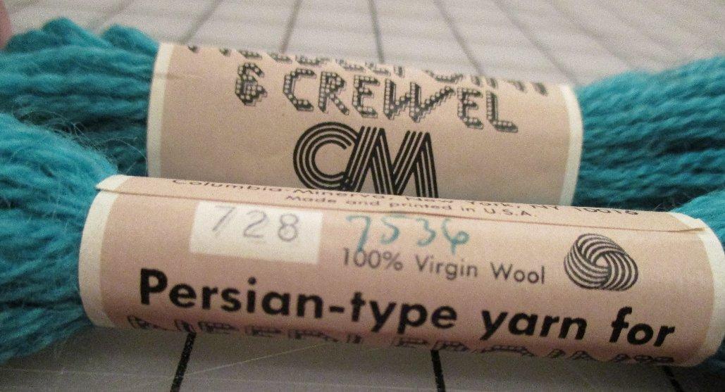 Columbia-Minerva Persian-Type Yarn 100% Wool 3 Ply #728 Medium Aqua Needlepoint Crewel Embroidery