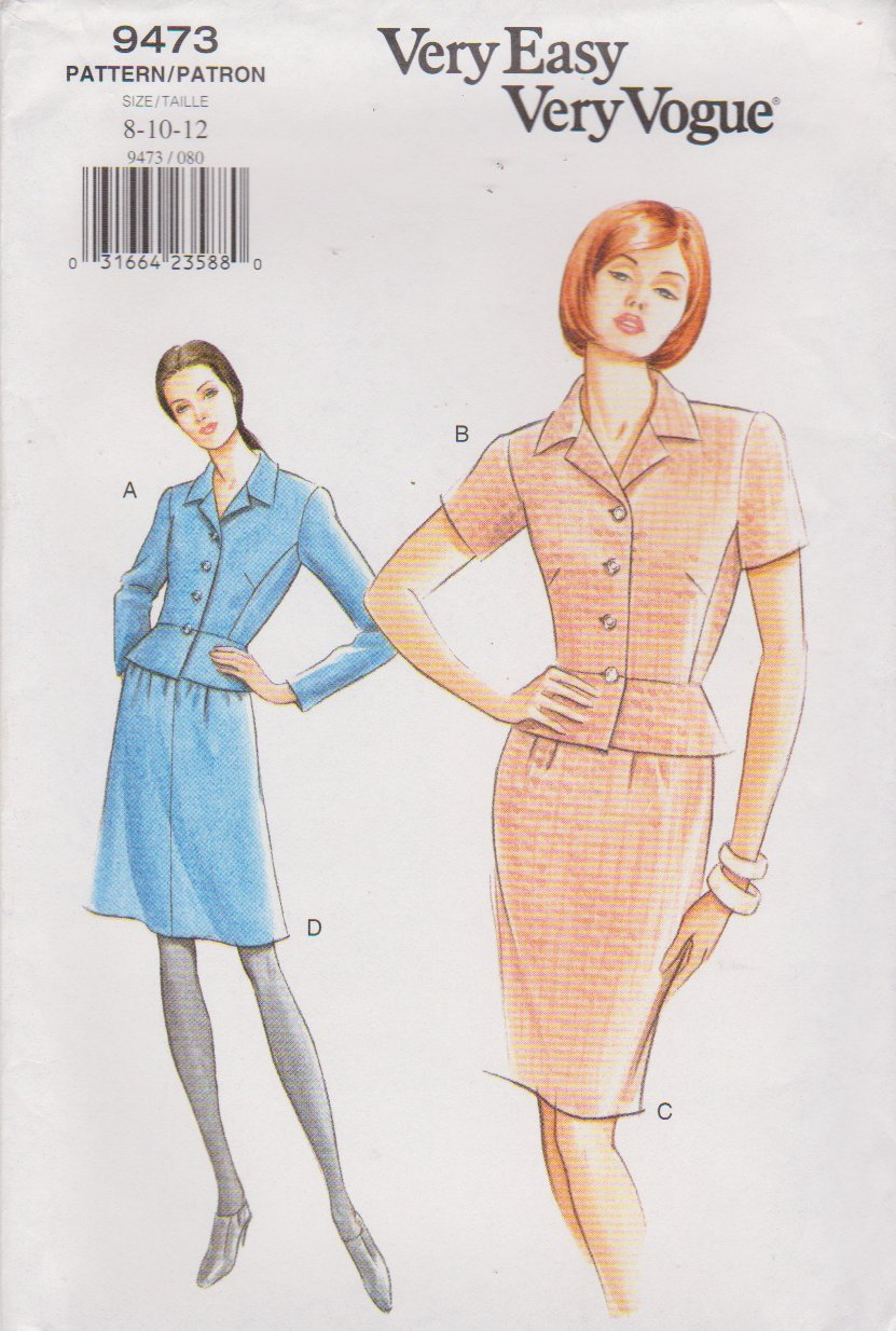 Vogue Sewing Pattern 9473 V9473 Misses Sizes 8-12 Easy Suit Peplum Top Straight A-Line Skirt