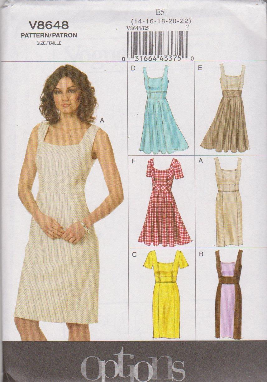 Vogue Sewing Pattern 8648 V8648 Misses Size 14-22 Easy Sleeve Skirt Summer Lined Dress Options