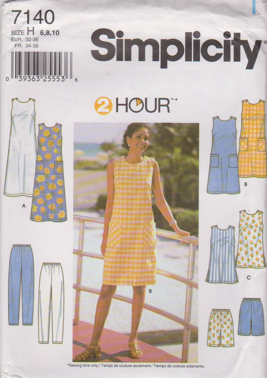 Simplicity Sewing Pattern 7140 Misses Size 6-10 2 Hour Wardrobe Dress Tunic Long Pants Shorts