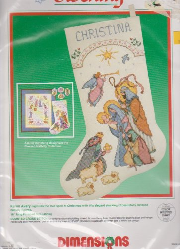 Dimensions Blessed Nativity Stocking 8358 Counted Cross Stitch Kit Unopened Unused Karen Avery