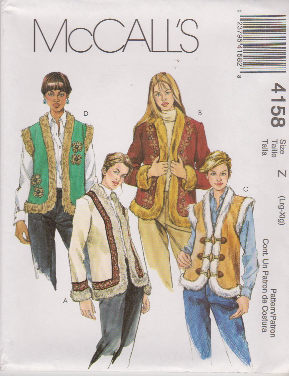 McCall's Sewing Pattern 4158 M4158 Misses Size 16-22 Lined Fur Trimmed Appliqued Vest Jackets