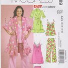 McCall's Sewing Pattern 5989 M5989 Misses Sizes 4-12 Easy Robe Top Pajama Pants Shorts Nightgown