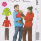 McCall's Sewing Pattern 6252 M6252 Mens Misses Size L-XL Jacket Hoodie Tops Pants Dog Coat