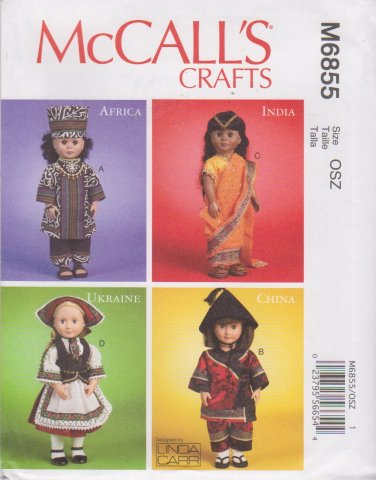 """McCall's Sewing Pattern 6855 M6855 International Clothes 18"""" Doll Africa India Ukraine China"""